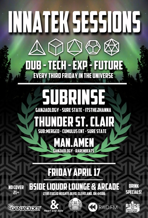 Ganjaology, Subrinse, Thunder St. Clair, Man Amen, Dub, Techno, Cleveland
